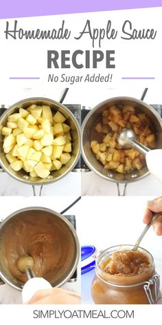 Homemade applesauce recipe in 15 minutes Applesauce Recipe No Sugar, Homemade Applesauce, Smoothie Recipes Oatmeal, Oatmeal Recipes, Oatmeal Ball Recipe, Oatmeal Toppings, Food Mills, Homemade Peanut Butter, Autumn