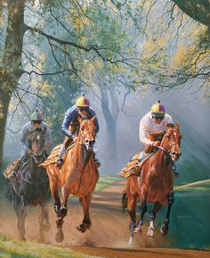 Festival Morning Cheltenham by Peter Smith. Limited Edition Horse Racing Prints of Newmarket. Peter Smith, Original Artwork, Original Paintings, Horse Silhouette, Thoroughbred Horse, Racehorse, Horse Drawings, Animal Paintings, Horse Paintings