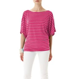 Achieve effortless elegance when you wear our striped Dolman top