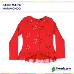 Saco Maipu de Mapamondo es de algodón, con botones, y posee corazones bordados en lentejuelas al frente de la prenda. Para conocer talles, colores y comprar ¡Hacé click en la imagen!