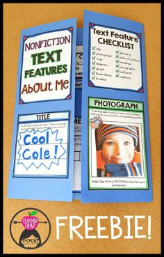 Fun way to teach information text features! Students create a nonfiction text features About Me lapbook! Great for back to school and the beginning of the year. Reading Workshop, Reading Skills, Teaching Reading, Reading Strategies, Learning, Teaching Ideas, Guided Reading Lessons, Guided Reading Groups, Reading Library