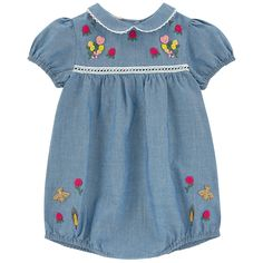 Oxford cotton Puff shape Peter Pan collar Elasticated gathers on the legs Elasticated sleeves Buttons in the back Logo buttons Snap buttons inside the legs Embroidered flowers Contrast crochet knit trims - $ 331.00