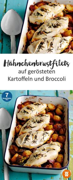 Chicken breast fillets on roasted potatoes and broccoli-Hähnchenbrustfilets auf gerösteten Kartoffeln und Broccoli Chicken breast fillets on roasted potatoes and broccoli 4 servings, 7 SmartPoints / serving, Weight Watchers, done in 90 min. Poulet Weight Watchers, Plats Weight Watchers, Weight Watchers Chicken, Weight Watchers Meals, Broccoli Recipes, Chicken Recipes, Broccoli Chicken, Shrimp Recipes, Chicken Breast Fillet