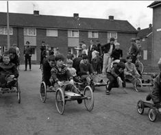 Old pram wheels came in useful, note how all the children of the neighbourhood played in the street together.