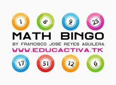 Math Bingo: Aprende a sumar y multiplicar jugando a este bingo matemático. Se puede usar en clase con la PDI y en casa con un ordenador!!