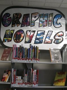 Speech bubble graphic novels sign above our Adult Graphic Novels ...