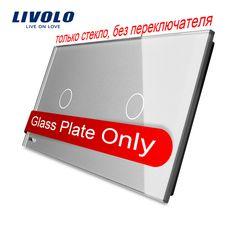 Livolo lujo gris perla de cristal, 151mm * 80mm, estándar de LA UE, doble Panel de Vidrio, VL-C7-C1/ALQUILO C1-15