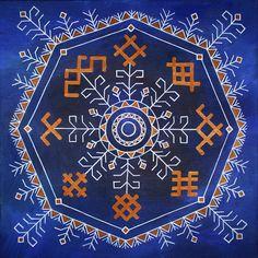 Traditional Latvian folk symbols on blue. Acrylic on canvas, 40x40cm. By Brigita Ektermane.