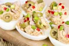 Here at SkinnyMs., we've put a delicious spin on an all-time favorite.Tuna salad meets deviled eggs in this delectable stuffed eggs recipe.