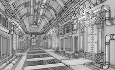 Steampunk spaceship corridor, Andrey Komkov on ArtStation at https://www.artstation.com/artwork/Wzqx3