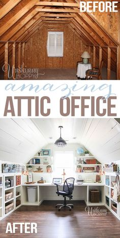 Attic turned office renovation Not for the attic, but I like the shelving for craft room. Attic turned office renovation Not for the attic, but I like the shelving for craft room. Attic Loft, Attic Rooms, Attic Spaces, Small Spaces, Attic Bathroom, Attic Library, Attic Playroom, Attic Office Space, Small Attic Room