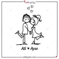 Sevgililere özel kitap damgası. Ali Ayşe'yi seviyor temalı.