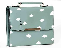 """Slim Turquoise hand painted """"Sky"""" bag for women - limited edition by Lollytout on Etsy"""