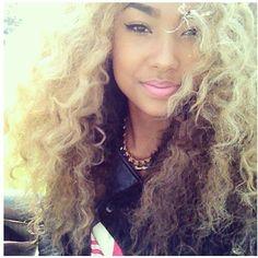 Blonde& dark brown-black under curly hair