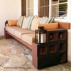 33 Ideas For Outdoor Patio Diy Decor Cinder Block Bench - Cinder Blocks Cinder Block Furniture, Cinder Block Bench, Cinder Block Ideas, Cinder Block Garden, Lounge Seating, Outdoor Seating, Outdoor Ideas, Patio Ideas