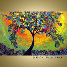 Original Modern Abstract OLIVE Tree Landscape Whimsical Acrylic Painting on Gallery canvas, Title of the painting: MANZANILLA TREE-Little Apples, Manzanilla Olives: a large, rounded-oval olive fruit, with purple-green skin, originated in Dos Hermanas, Seville
