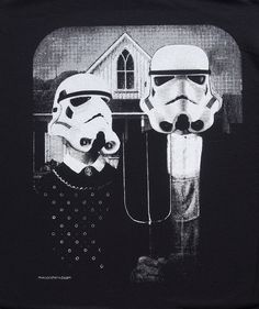 star wars American Gothic parody on mens t shirt- american apparel black, available in S,M, L ,XL, 2XL,  worldwide shipping. $19.99, via Etsy.