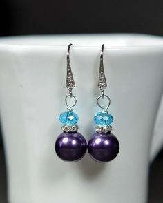 Bridesmaid earrings -Bridesmaid Jewelry -Wedding Party - Wedding Jewelry -Purple peacock turquoise teal blue wedding pearl- Bridesmaid Gift