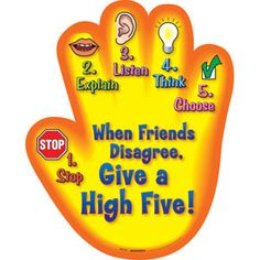 A great conflict resolution unit. The high five conflict resolution unit. Stop, 2 Explain, 3 Listen, 4 Think, 5 Choose. Elementary School Counseling, School Social Work, School Counselor, Elementary Schools, Counseling Office, High School, School Teacher, Coping Skills, Social Skills