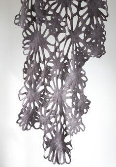 Ronel Jordaan | www.roneljordaan.com #roneljordaan Nuno Felting, Needle Felting, Nuno Felt Scarf, Felted Scarf, South African Design, Felt Cushion, Decorative Knots, Felt Art, Textile Design