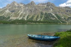 Blue boat at the shore of Lake Sils Blue Boat, Mountains, Nature, Ships, Travel, Boats, Viajes, Boating, Naturaleza