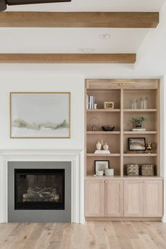 Bookshelves Around Fireplace, Built In Around Fireplace, Fireplace Built Ins, White Fireplace, Bookshelves Built In, Living Room With Fireplace, My Living Room, Home And Living, Living Room Decor
