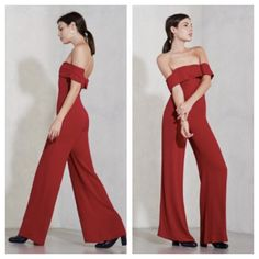 Reformation red Odelle jumpsuit size small Super chic Reformation Odelle jumpsuit in red size small. The Odelle jumpsuit is a wide leg jumpsuit with a folded off the shoulder neckline. (Which has some elastic in there so you can move). The waist is fitted and the fit is HOT!! Can be worn off shoulders or not. 100% viscose size small for reformation is - bust-34' natural waist-26 hip-39( size chart) good used shape. Retails at $258 sold out!!!!! Reformation Pants Jumpsuits & Rompers