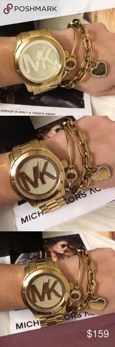 Brand New Oversized Michael Kors Women's Watch Michael Kors Women s Runway Gold Tone Watch Oversized Women's Watch brand new with tags box and Manual   Product Features Imported Round watch featuring numberless logoed dial 45 mm gold-tone stainless steel case with mineral dial window Quartz movement with analog display Gold-tone stainless steel bracelet with fold-over clasp with double push-button safety Water resistant to 100 m (330 ft): In general, suitable for swimming and snorkeling, but…