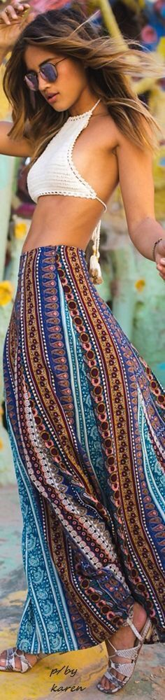 Amazing boho style with crochet crop top