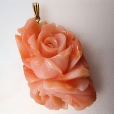 $125.00 Vintage 1960s Genuine Coral Pendant Hand Carved Rose Undyed w/ 14k Bail Ring Fine Jewelry Jewellery by BrightEyesTreasures on Etsy