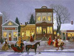 Folk art village snow scene with horse & sleigh.