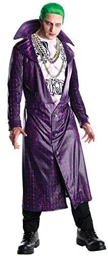"""The Suicide Squad Joker Men's Halloween Costume is perfect for dressing in super-villain style this Halloween. The costume includes the Joker's signature purple jacket and a stylized shirt based on the character's appearance in """"Suicide Squad"""". Halloween Kostüm Joker, Joker Halloween Costume, Joker Cosplay Costume, Halloween Fancy Dress, Adult Halloween, Purple Halloween, Halloween Parties, Halloween Villain, Costumes"""