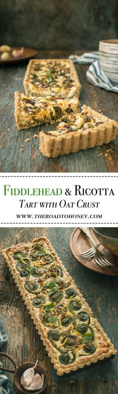Fiddlehead & Ricotta Tart with Oat Crust - A no roll oat crust guarantee this savory tart topped with a creamy whole milk ricotta & cheddar cheese, fiddleheads, & sautéed onions easy to make.  Easily sub in asparagus if fiddleheads aren't in season.  Clic
