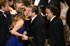Pin for Later: See Every Wild Moment From Leonardo DiCaprio's Big Night at the Oscars Leo Got a Friendly Peck From Best Actress Winner Brie Larson