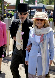 Cool couple: Thespians Jeremy Irons, 66, and his wife Sinead Cusack, 67, arrive in style f...