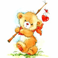 Illustration about Valentine Day. Background for card with cute toy bear and red heart. Illustration of bear, isolated, illustration - 53784254 Tatty Teddy, Cute Images, Cute Pictures, Bear Watercolor, Watercolor Drawing, Art Mignon, Teddy Bear Pictures, Bear Drawing, Blue Nose Friends