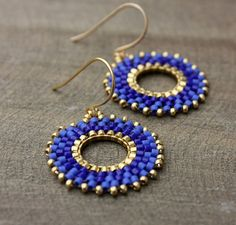 Cobalt Blue Gold Beaded Hoop Dangle Earrings by lamaisondefloria