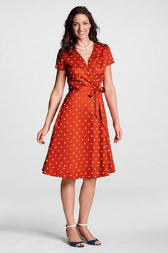 A cute retro style summer dress. I would love to wear this on a date with the hubs. Women's Surplice Dot Embroidered Dress from Lands' End