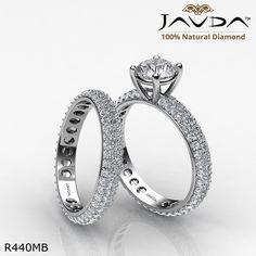Eternity 3 Row Shank Bridal Round Diamond Engagement Ring 14k White Gold.