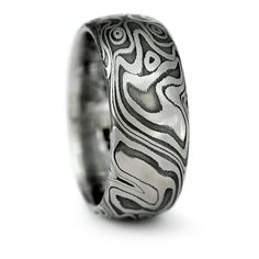 Damascus Steel Wide Mens Wedding Band Four by MokumeDamascusRings