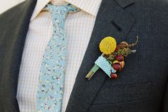 floral tie and billy button corsage @ Vintage State Park Wedding Melbourne Cup, Post Wedding, Dream Wedding, Blue Boutonniere, Boutonnieres, Floral Tie, Floral Design, Derby, Billy Balls