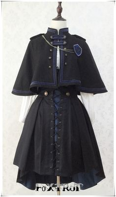 Beautiful reinterpretation of the Ravenclaw uniform, could definitely see this being worn by Ravenclaw students as they study in the library or try to answer a riddle so as to enter Ravenclaw Tower Cosplay Outfits, Edgy Outfits, Anime Outfits, Mode Outfits, Pretty Outfits, Old Fashion Dresses, Fashion Outfits, Fashion Fashion, Korean Fashion