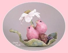 Love Bird Wedding Cake Topper, Bird Cake Topper, Flower, Cute, Animals, Romantic, Elegant, Lovebird, Pink, Blue, Figurine, Clay, Handmade. $24.00, via Etsy.