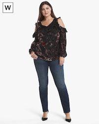 01932b6f49218e White House Black Market Plus Floral Velvet Burnout Cold-Shoulder Blouse