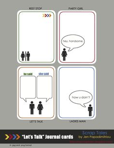 """Printable -- """"Let's Talk"""" Journal Cards. Love these!"""