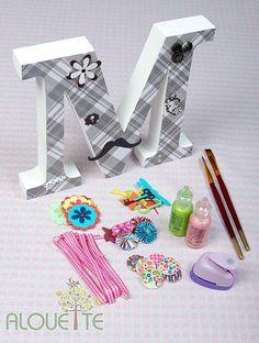 Alouette arte de regalos en madera y papel kits para - Letras de madera decoradas ...