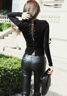 Black Lace-up Back Top – Lookbook Store