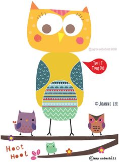'Owls' (collective print) by Jayne Scholfield, Joanne Lee, and Amy Underhill
