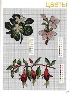 Gallery.ru / Фото #12 - 112 - Yra3raza Cross Stitching, Cross Stitch Embroidery, Cross Stitch Patterns, Fuchsia Flower, Rico Design, Stitch 2, Cross Stitch Flowers, Small Flowers, Le Point