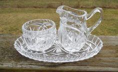 Vintage Heavy Pressed Glass Sugar Bowl Cream Pitcher Tray Glassware Star  #unknown